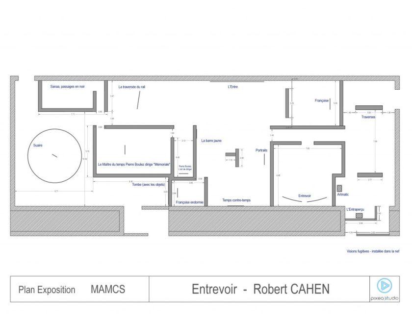 """Fig. 2 : Plan de l'exposition Entrevoir, 2014. """"droits réservés Pixea Studio-Thierry Maury"""""""