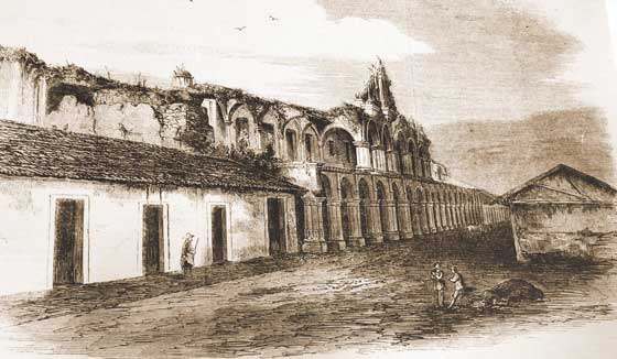 The palace was demolished by Captain General Martín de Mayorga after 1773. In fact, Mayorga got a royal decree to demolish the entire city after the earthquakes of 1773 but no one paid much attention to it. He did, however, demolish a great part of the palace, trying to move the large stone columns. The palace was rebuilt in the 1890s.
