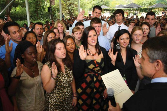 50 new Peace Corps volunteers were sworn in as part of the anniversary celebration