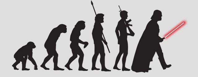 singe qui se met peu à peu droit, devient n homme avec une lance, puis un fusil, puis devient Darth Vador à la fin