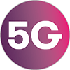 5G EE Ready Logo. Reward Mobile brand gradient with large 5G letters inside colour block