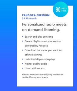 3-Month Pandora Premium Subscription Trial | Rewards