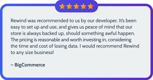 A five star review of Rewind for BigCommerce