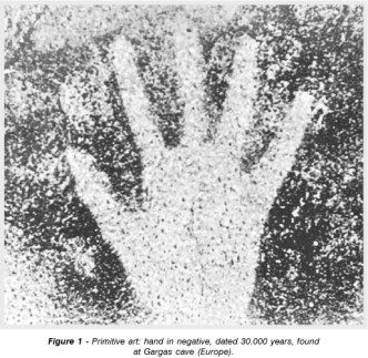 The imprint of the hand in this image acts as a documentation or record of presence at a site. Whilst we don't know the purpose of the practice or the thinking behind someone 30,000 years ago doing this, we are now, witness to the reproduction of something that has a corporeal existence elsewhere in the world via photography, print and online archive and is a tangible record of someones existence.