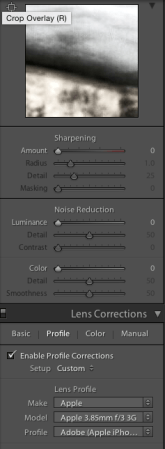 Sharpening, noise reduction and profile corrections
