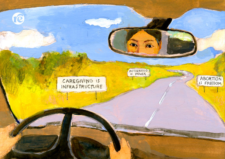 [ILLUSTRATION: Woman driving car and her eyes shown in rearview mirror]