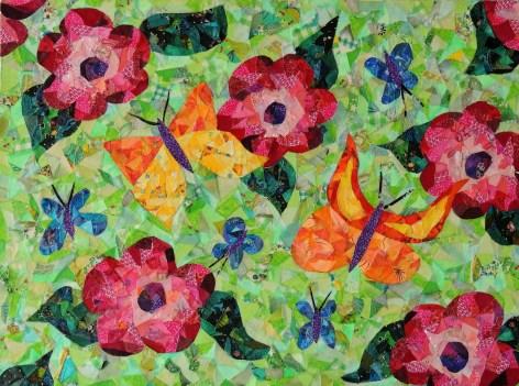 """Flowers and Butterflies"", fabric mosaic by Ruth Warren"