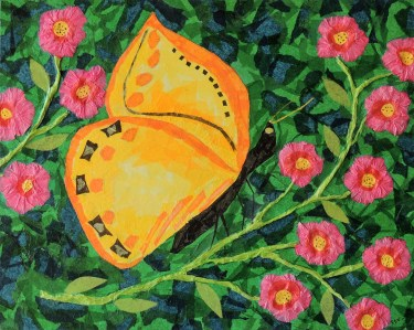"""""""Yellow Butterfly"""", tissue collage by Ruth Warren"""