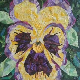 """""""Yellow Pansy"""", 10""""x10"""" fabric mosaic on canvas by Ruth Warren"""