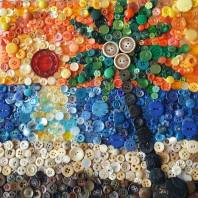 """Button Beach"", 12""x12"" button mosaic by Ruth Warren"