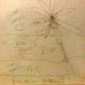 Stage 2: details penciled on sketch
