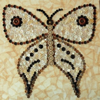 """""""Brown and White Butterfly"""", 20""""x20"""" button mosaic by Ruth Warren"""