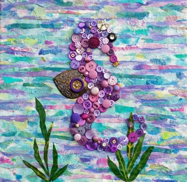 """""""Purple Seahorse"""", 12""""x12"""" mixed media and button mosaic by Ruth Warren"""
