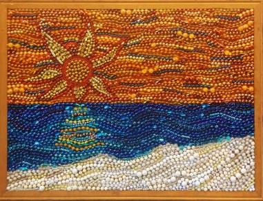 """Starburst Sunset"", mardi gras bead mosaic by Ruth Warren"