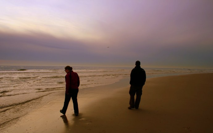 Marja and I walking along the beach