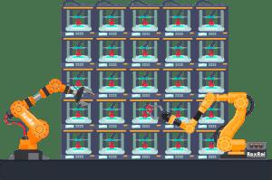 Autonomous 3d printing farm