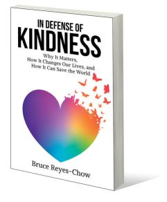Cover of In Defense of Kindness, white with rainbow heart.