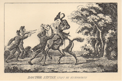 Thomas Rowlandson (1813) Doctor Syntax Stopt by Highwaymen.  Scanned image from: Combe, W. (1813). The Tour of Doctor Syntax in Search of the Picturesque. London: W. Tegg