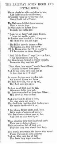 """The Railway Robin Hood and Little John"" Punch, 26 Sept. 1868, p.129."