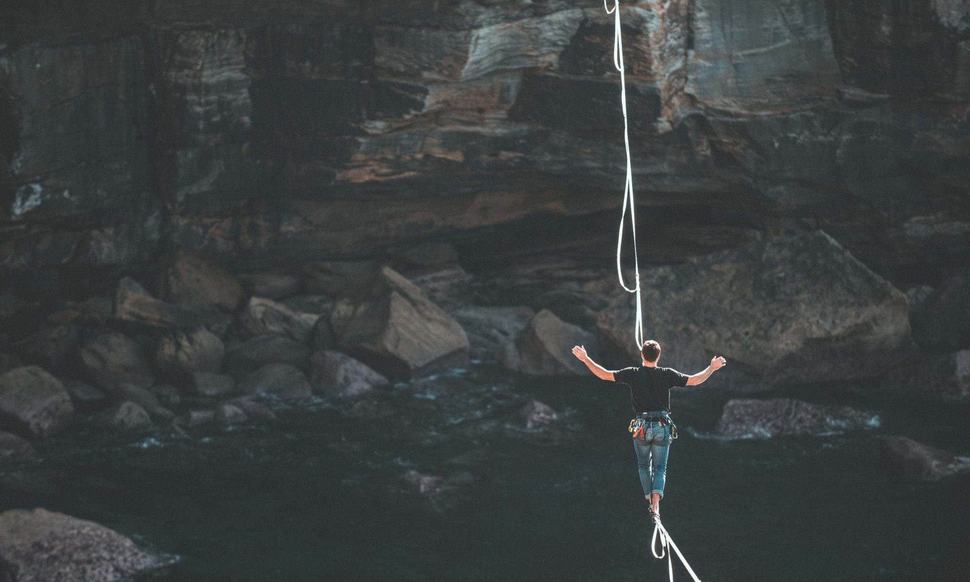 tightrope over canyon