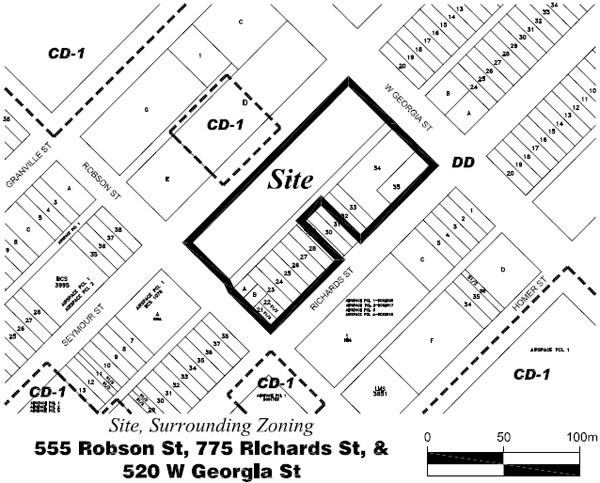 Rezoning Application, 555 Robson Street, 775 Richards