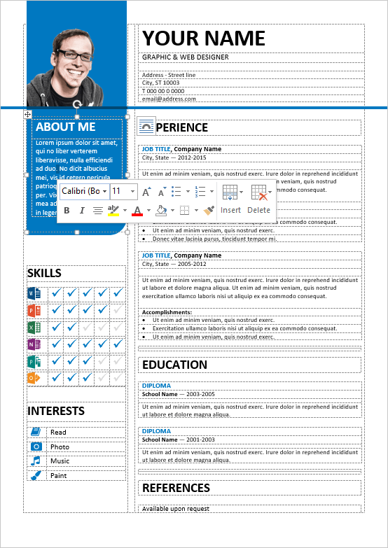 resume experience table