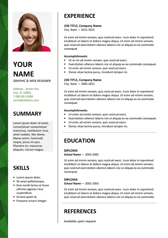 free resume templates for word download - Fast.lunchrock.co