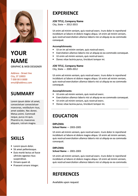 quick and easy resume template free