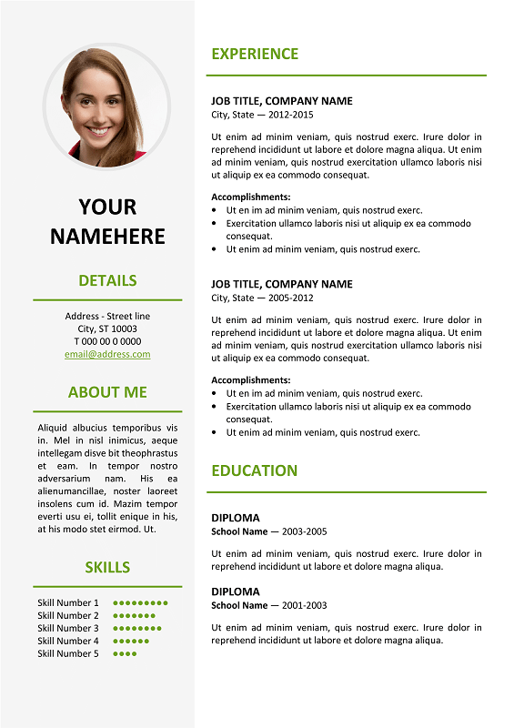 resume templates for long resumes