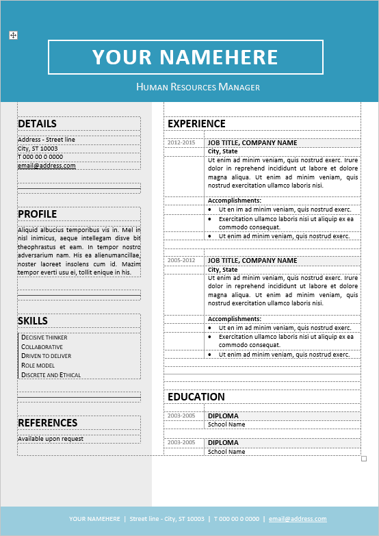 free editable resume templates for word