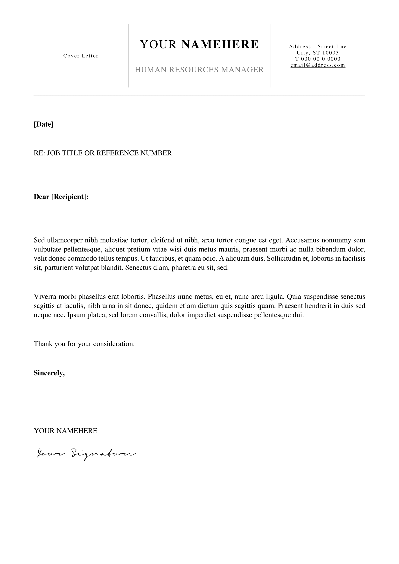 Kallio - Free Simple Cover Letter Template For Word (Docx)