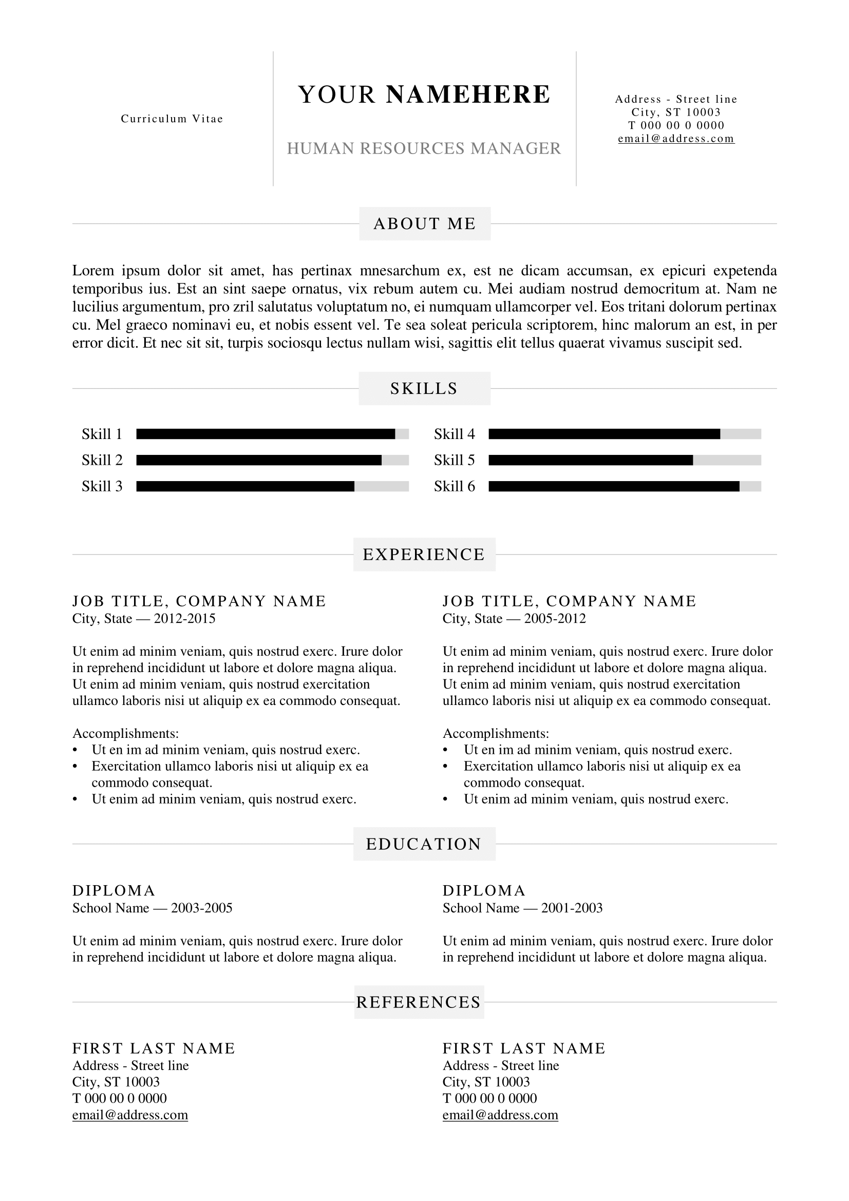 Kallio - Free Simple Resume Template For Word (Docx)