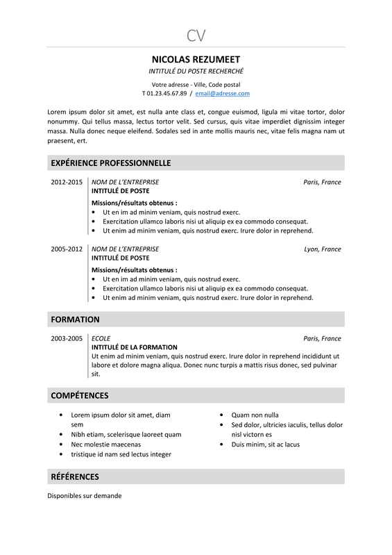 Cv Modele Openoffice All New Resume Examples Resume Template