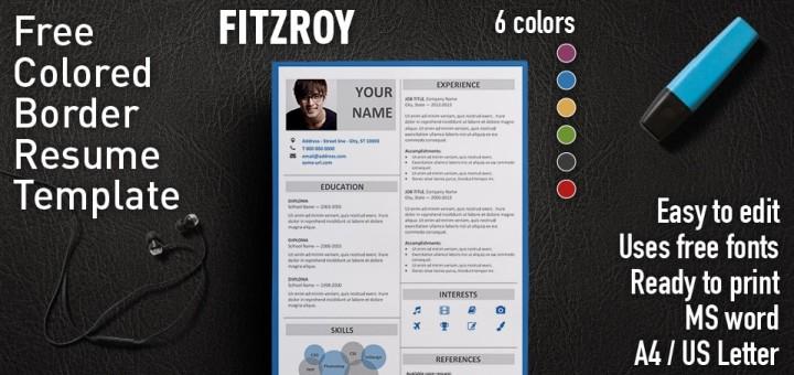 Fitzroy Modern Border Resume Template