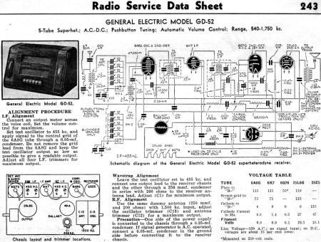 General Electric Model GD-52 Radio Service Data Sheet