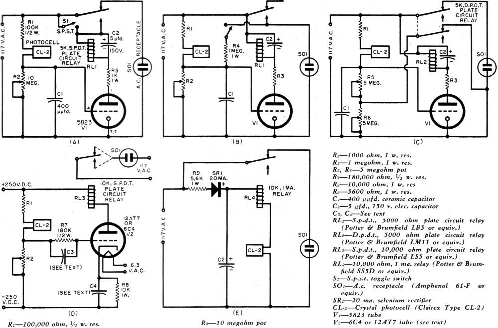 Crystal Photocell Circuits, January 1957 Radio