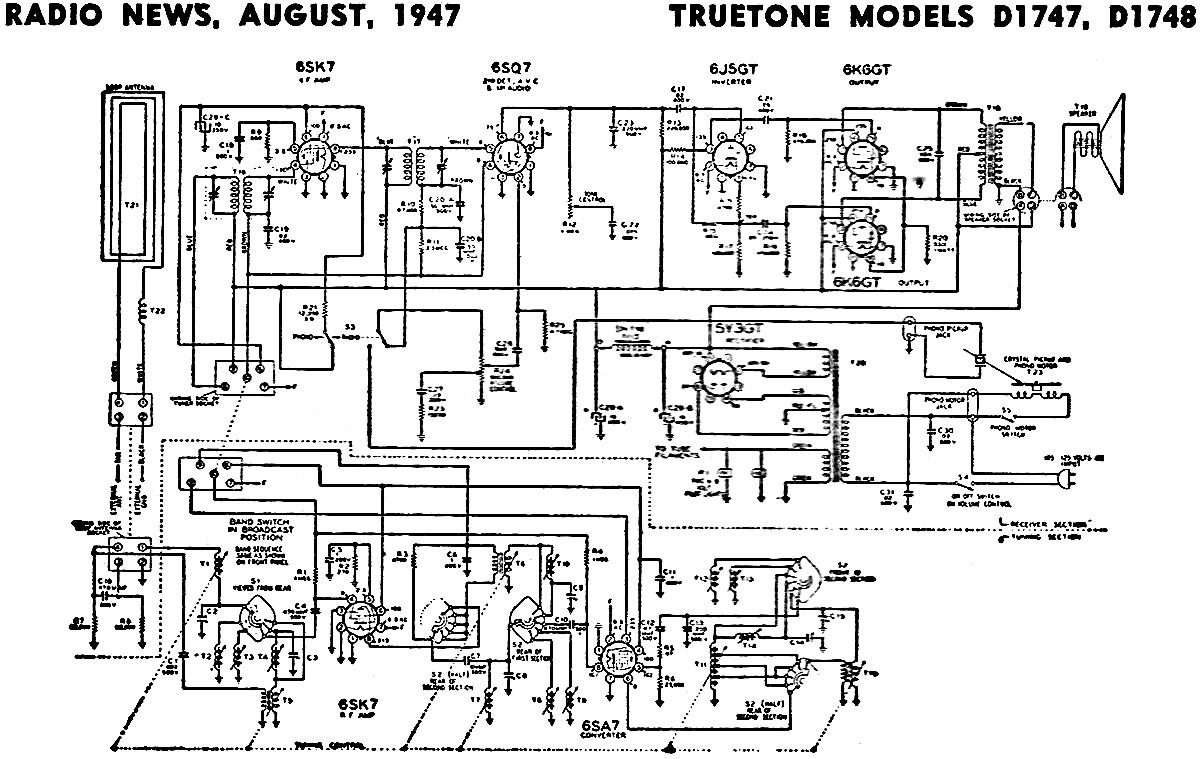 TrueTone Models D1747, D1748 Schematic & Parts List
