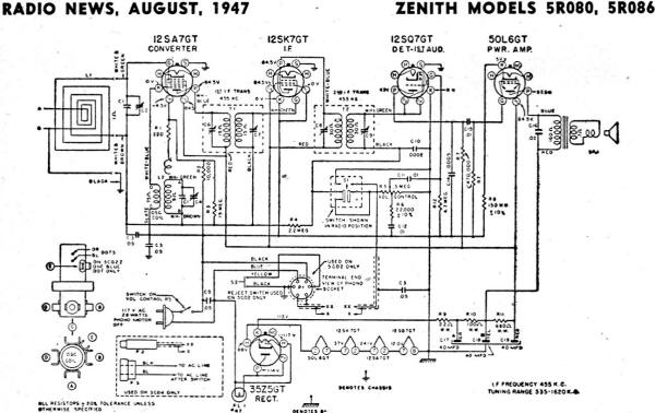 Zenith Models 5R080, 5R086 Schematic & Parts List, August