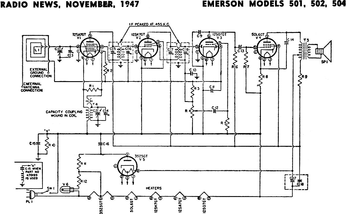 Emerson Models 501 502 504 Schematic Amp Parts List