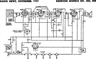 Emerson Models 501, 502, 504 Schematic & Parts List