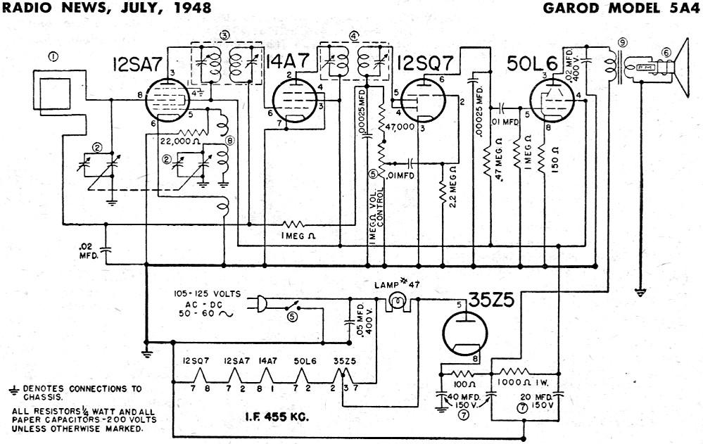 Garod Model 5A4 Schematic & Parts List, July 1948 Radio
