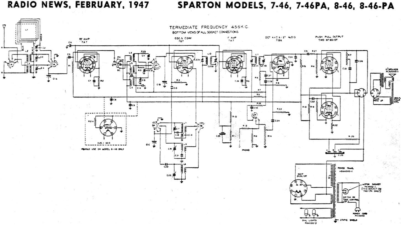 Ac Delco Wiring Diagrams Sparton Models 7 46 7 46pa 8 46 8 46pa Schematic