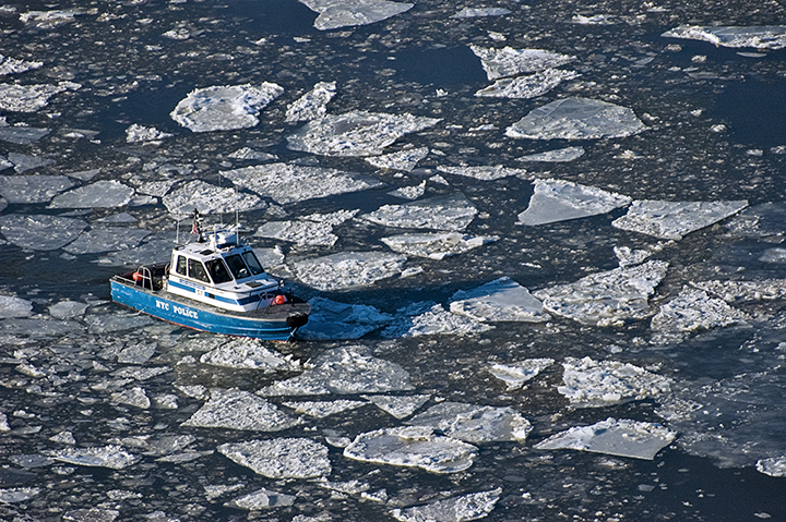 NYPD Boat in Ice Flow by Jay Fine