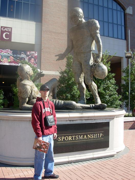 Brandon outside the stadium at Florida State University
