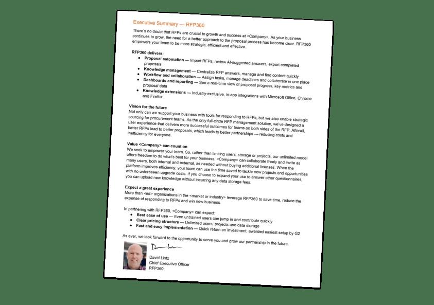 RFP executive summary template