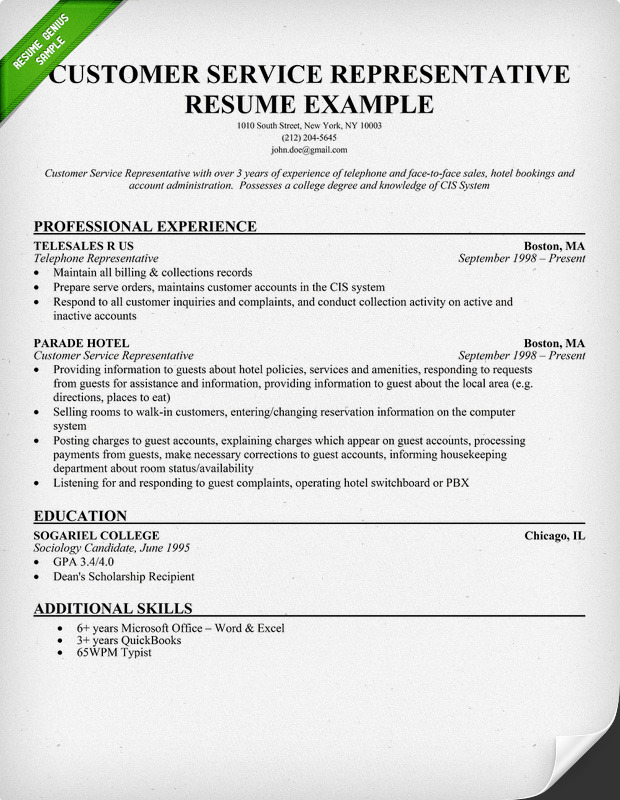 Resume Templates For Customer Service Representatives   Sample Resumes For Customer  Service Representative