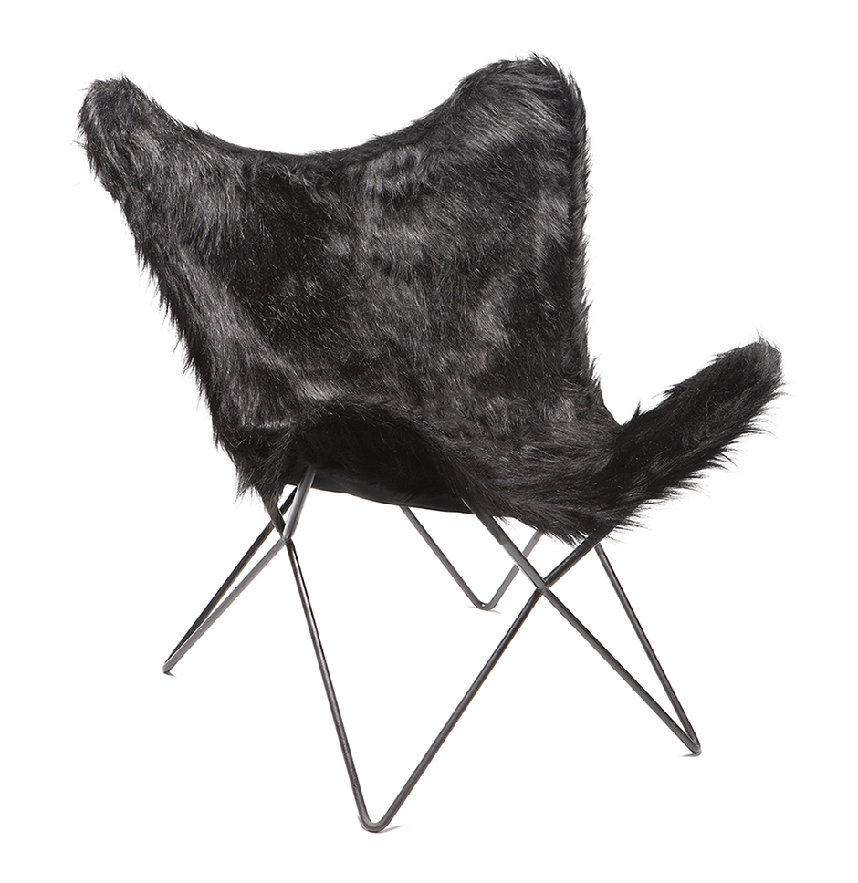 Fur Butterfly Chair Butterfly Chair Black Syntethic Fur Black Frame