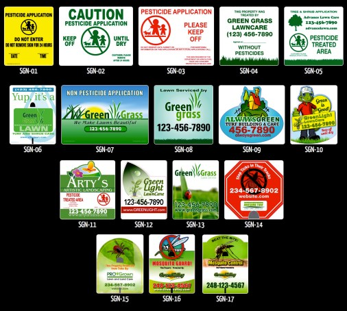 pest control, lawn posting signs