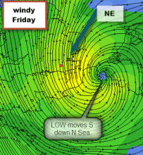 swirl of wind around LOW