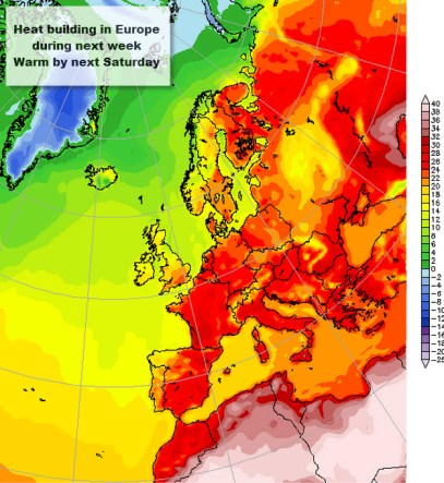 1. Saturday warm across Europe